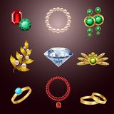 Jewelry realistic icons Stock Photos
