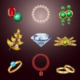 Jewelry realistic icons Stock Photos