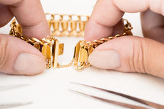 Jewelry Repair. Workshop manufacture and repair of jewelry Royalty Free Stock Photos