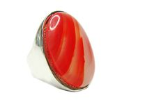 Jewelry ring with bright carnelian crystals Royalty Free Stock Photography