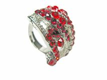 Jewelry ring with bright red crystals Royalty Free Stock Image