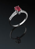 Jewelry ring with diamond Stock Images