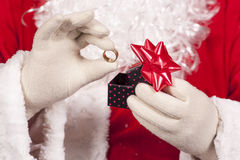 Jewelry ring gift Santa Claus Royalty Free Stock Image