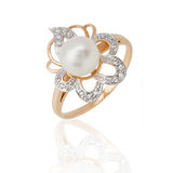 Jewelry ring with pearl and diamonds Stock Photo