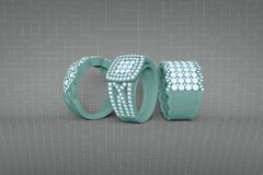Jewelry rings with diamonds 3D rendering in wireframe mesh grid Royalty Free Stock Photos