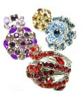 Jewelry rings set with bright crystals Stock Photography