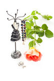 Jewelry with rose Royalty Free Stock Photography