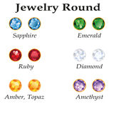 Jewelry Round. Isolated Objects. Jewelery set with round cut - diamond, emerald, sapphire, ruby, amethyst, topaz and amber on white background. In the Royalty Free Stock Image