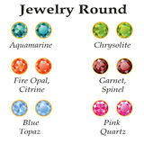 Jewelry Round Isolated Objects. Jewelery set with faceting round - aquamarine, blue topaz, garnet, spinel, fire opal, citrine, chrysolite and rose quartz on a Stock Photos
