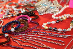 Jewelry for sale in jeweler's bench at exposure Royalty Free Stock Photography