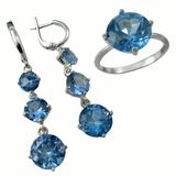 Jewelry with sapphire on white background royalty free stock photography