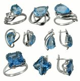 Jewelry with sapphire on white background stock photography