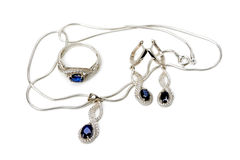 Jewelry with sapphires Royalty Free Stock Photos