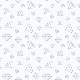 Jewelry seamless pattern, diamonds flat line illustration. Vector icons of brilliants. Fashion store white repeated. Background Royalty Free Stock Photography