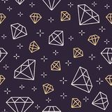 Jewelry seamless pattern, diamonds line illustration. Vector icons of brilliants. Fashion store dark repeated background.  Royalty Free Stock Photos