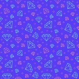 Jewelry seamless pattern, diamonds line illustration. Vector icons of brilliants. Fashion store dark repeated background.  Stock Photography