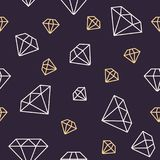 Jewelry seamless pattern, diamonds line illustration. Vector icons of brilliants. Fashion store dark repeated background Stock Image