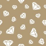 Jewelry seamless pattern, diamonds line illustration. Vector icons of brilliants. Fashion store gold repeated background.  Stock Photography