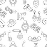 Jewelry seamless pattern, vector background, black and white monochrome illustration. Contour decoration items on a white backdrop Stock Illustration