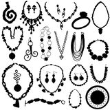 Jewelry set. Set of jewelry silhouettes vector Royalty Free Stock Photography