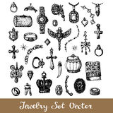 Jewelry Set. Collection of doodle style elements. Jewellery fashionable icons. Vector illustration Stock Images