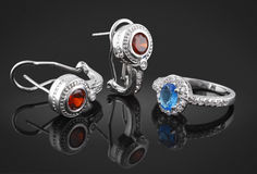 Jewelry set with diamonds. On black background Stock Photography