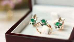 Jewelry set with emerald stock video footage