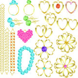 Jewelry set of gold rings, chains, earrings, necklaces, pendants. Vector illustration Stock Image