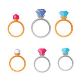 Jewelry Set of Rings with Gems of Different Colors Royalty Free Stock Image