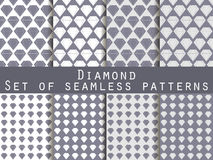 Jewelry. Set of seamless patterns with diamonds. Black and white color. Stock Photography