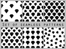 Jewelry. Set of seamless patterns with diamonds. Black and white color. Vector illustration. Royalty Free Stock Photo