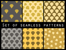 Jewelry. Set of seamless patterns with diamonds. Stock Photos
