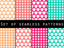 Jewelry. Set of seamless patterns with diamonds. The faceted diamond. The pattern for wallpaper, bed linen, tiles, fabrics, backgrounds. Vector illustration Royalty Free Illustration