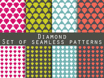 Jewelry. Set of seamless patterns with diamonds. The faceted diamond. Stock Photography