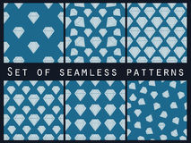 Jewelry. Set of seamless patterns with diamonds. The faceted diamond. Royalty Free Stock Photos