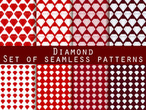 Jewelry. Set of seamless patterns with diamonds. The faceted diamond. Royalty Free Stock Photo