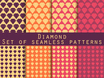 Jewelry. Set of seamless patterns with diamonds. The faceted diamond. The pattern for wallpaper, bed linen, tiles, fabrics, backgrounds. Vector illustration Stock Illustration
