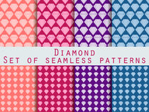 Jewelry. Set of seamless patterns with diamonds. The faceted diamond. Vector illustration. Stock Photography