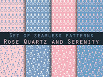 Jewelry. Set of seamless patterns with diamonds. Rose quartz and serenity violet colors. The pattern for wallpaper, bed linen, tiles, fabrics, backgrounds Stock Photo