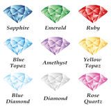 Jewelry set volume. A set of four gems - sapphire, emerald, ruby, diamond, topaz, amethyst, quartz on a white background. Isolated objects. In the illustration Stock Photography
