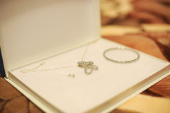 Jewelry set in a white box Stock Photography