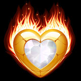 Jewelry in the shape of heart in fire Royalty Free Stock Images