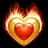 Jewelry in the shape of heart in fire. Vector Jewelry in the shape of heart in fire isolated on black background Stock Photo