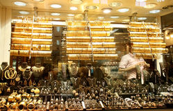 Jewelry shop. Turkish gold jewelry for sale in Istanbul Grand Bazaar, Turkey stock photos