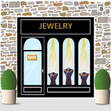 Jewelry shop. Jewelry shop building facade of stone. Dummies with golden necklaces in the shop window.Vector illustration eps 10 Stock Photos