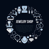 Jewelry shop, diamond accessories banner illustration. Vector flat line icon of jewels - gold engagement rings, gem Stock Images