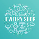 Jewelry shop, diamond accessories banner illustration. Vector line icon of jewels - gold engagement rings, gem earrings Royalty Free Stock Photos