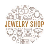 Jewelry shop, diamond accessories banner illustration. Vector line icon of jewels - gold engagement rings, gem earrings Stock Images