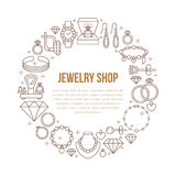 Jewelry shop, diamond accessories banner illustration. Vector line icon of jewels - gold engagement rings, gem earrings Royalty Free Stock Photo