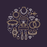 Jewelry shop, diamond accessories banner illustration. Vector line icon of jewels - gold watches, engagement rings, gem. Earrings, silver necklaces, charms Stock Photography